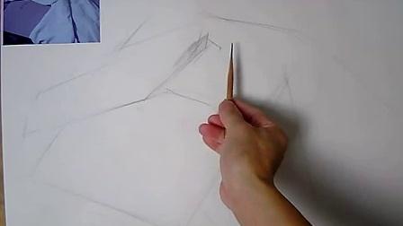 零基础素描初学 素描教程 素描入门教程 素描基础教程学习 白色衬布的画法步骤(一)