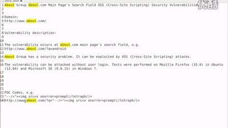 About.com Main Page Search Field XSS Cross-Site Scripting Security Vulnerability