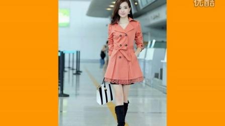 2015春装新款女装 韩版大码中长款外套蕾丝双排扣女式风衣