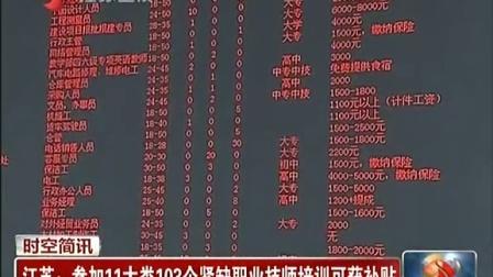 江苏:参加11大类103个紧缺职业技师培训可获补贴 江苏新时空 20150318