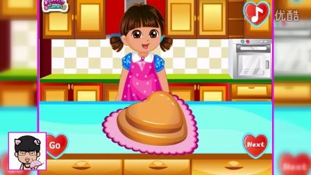 ★爱探险的朵拉历险记★朵拉做爱心蛋糕给妈妈过生日