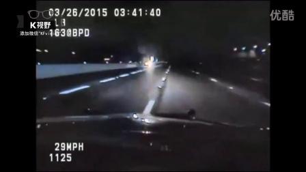 [K分享] 太狠了!美国警车与逆行逃犯相撞截停
