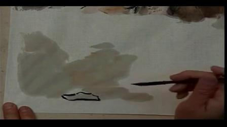 最简单毛笔山水画黑白简单毛笔山水画