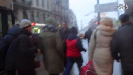 2014聖誕節前夕的俄羅斯聖彼得堡大街