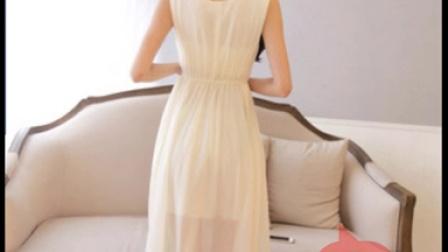 2015春夏装新款韩版女装拼接吊带款立体甜美大摆型纯色雪纺连衣裙