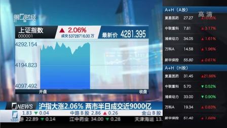 沪指大涨2.06%  两市半日成交近9000亿 财经中间站 150417