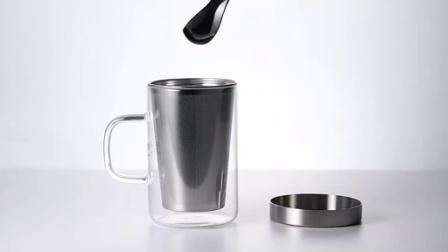 尚明耐热玻璃杯茶杯过滤花茶杯 男女士玻璃水杯带盖玻璃办公