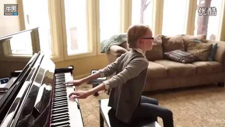 萌兄萌妹背后盲弹《冰雪奇缘》钢琴曲