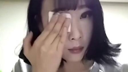 擦一擦五官不见了 韩国妹子展示惊人卸妆过程