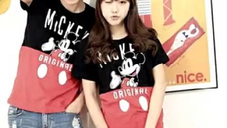 【JINHYO SHOP】苏浩2015夏季情侣装韩版修身米奇卡通短袖T恤男女