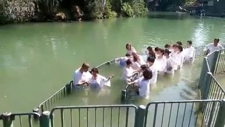 我們來自中國的新朋友在受洗的約旦河在Yardenit 。