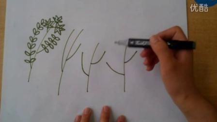 儿童画速写超简单易学的123树的画法根李老师学画画