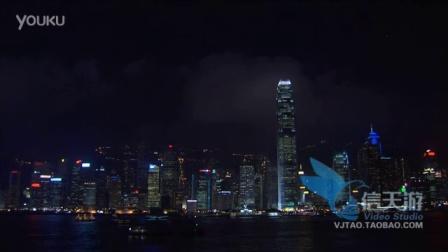 0213华丽都市高楼大厦小船漂泊海面城市夜景实拍视频素材