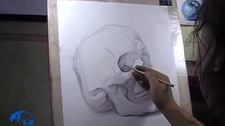 开封艺宇画室李建设教授素描骷颅头写生范画|开封美术培训班|河南美术