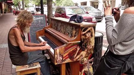 【今日油管推荐】美国流浪汉街头展示一流钢琴技术 @柚子木字幕组