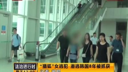 """""""猎狐""""女逃犯  潜逃韩国8年被抓获 法治进行时 150710"""