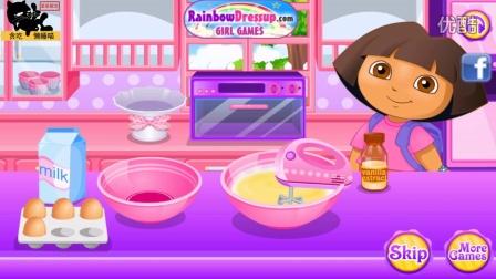 【爱探险的朵拉历险记】朵拉超市购物做纸杯蛋糕,4399小游戏!