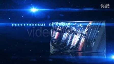 蓝色调的灯光配粒子的宣传展示效果AE模板3TA000276