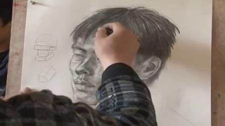 小河简笔画教学视频 彩铅画星空教程