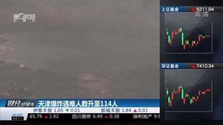 天津人数升至114人 财经早班车 150818