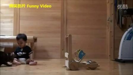 【You Tube奇趣精选】聪明的猫教宝宝走路