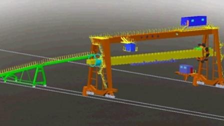 【南通奥普机械】门架斗轮堆取料机堆料过程