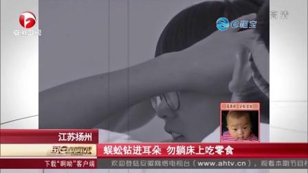 江苏扬州:蜈蚣钻进耳朵  勿躺床上吃零食 每日新闻报 150919