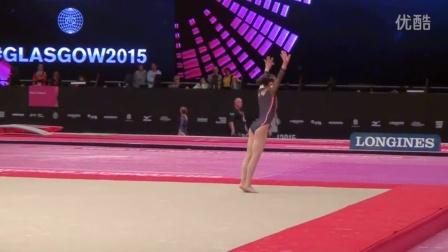 Sae Miyakawa JPN FX Podium Training Sub 2 2015 Worlds Glasgow (HD)