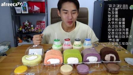 【微博@学姐宿舍】奔驰哥吃播151010-瑞士卷+果冻+马卡龙+水果牛奶