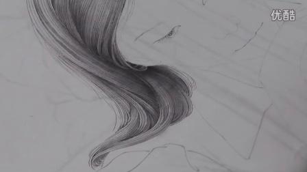 中国工笔画教学——工笔人物写生步骤9.2头发的分染