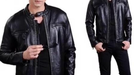 2015春秋新款修身皮夹克绵羊皮立领潮短款外套男士皮衣真皮皮