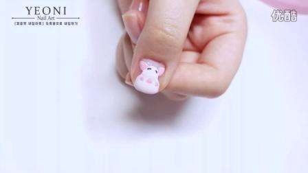 [YEONI Nail Art] 超可爱小熊维尼小猪美甲教程🐻 - 피글렛 네일아트 │ Piglet Nail Art Tutorial