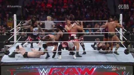 【Raw 12/7】嗨翻天!16人组队混战!伦斯超人飞拳揍晕大白