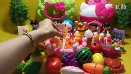 水果蔬菜生日蛋糕切切看 哆啦a梦 机器猫 名侦探柯南庆祝生日_高清
