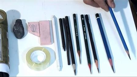 铅笔画素描几何体视频