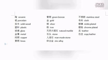 商务建筑材料英语专业词汇