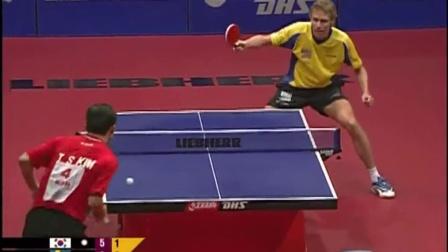 2004卡塔尔世乒赛 金泽洙vs佩尔森 乒乓球比赛视频 剪辑