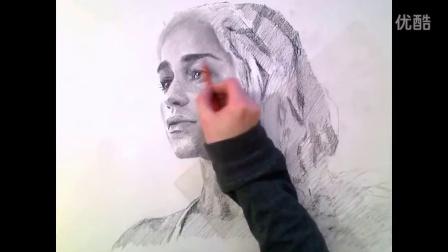 Gorgeous Daenerys Portrait Drawing in Charcoal Video国外素描人头像 美女
