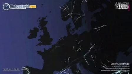 飞机航班在冰岛火山喷发时和过后的航线图