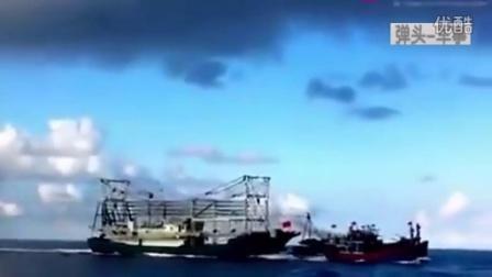 弹头军事:实拍中越船只南海意外相撞 越船顷刻间撞翻沉没