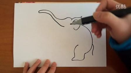 站起来的大象简笔画跟李老师学画画