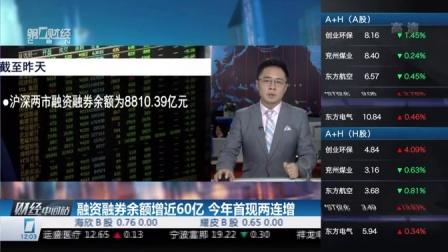 融资融券余额增近60亿  今年首现两连增 财经中间站 160217