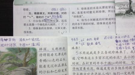 人教版南方新课堂小学三年级语文下册第四课《珍珠泉》练习讲解下