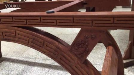 巴花实木大板办公桌 茶桌 会议桌拱形支架 手工雕刻花边 美观耐用 可拆装方便 尺寸可定制