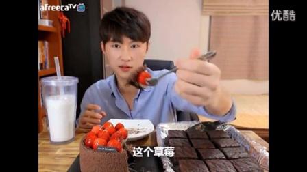 【驼壳硬吃播】草莓巧克力蛋糕 + oh yes巧克力派_高清