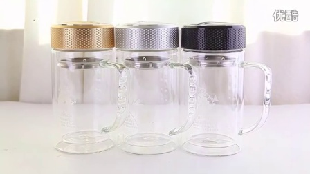 可定制广告杯双层带盖玻璃杯过滤网茶杯男士办公水杯