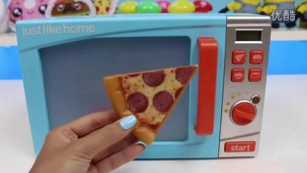 厨房微波炉玩具拆封演示 披萨汉堡饼干