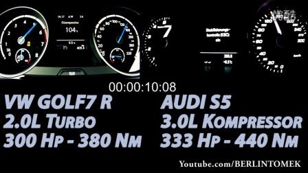 7代高尔夫R加速对比奥迪S5(均为原厂)