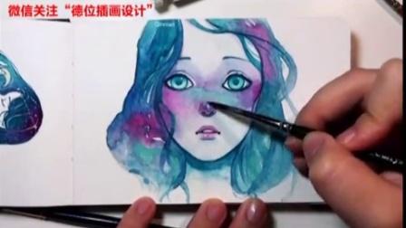 五一假期学习,用水彩颜料打造水彩二次元人物动漫少女