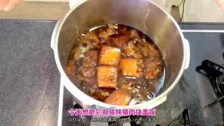 【木下大胃王】大碗吃肉之盛满煮烂的五花肉牛筋的炖肉盖饭 @柚子木字幕组